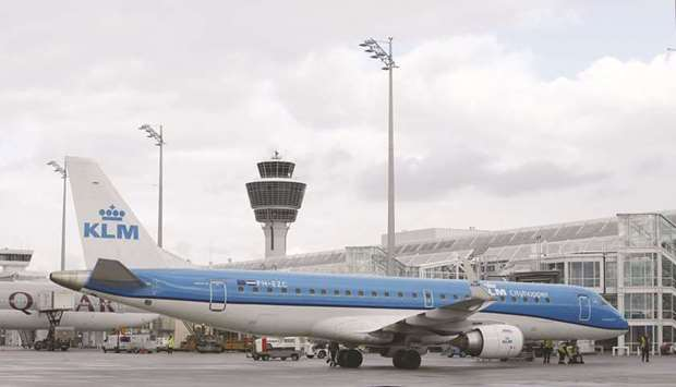 A passenger aircraft operated by KLM stands at the Munich airport. The Dutch government will appoint