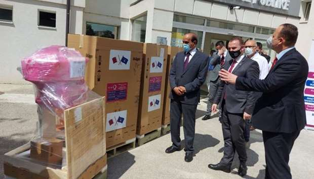 The aid contains 6,500 coronavirus test kits and six ventilators under an agreement signed between Q