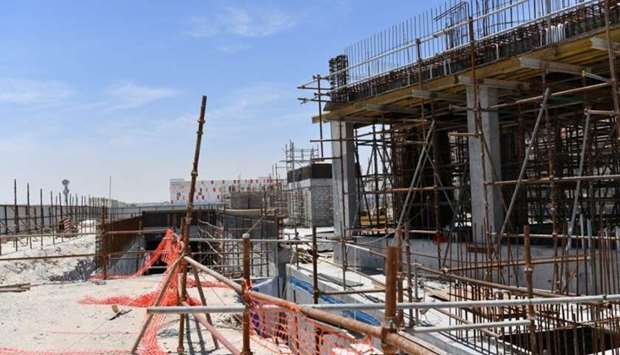 Work at the under-construction Al Meshaf health centre