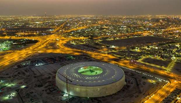A view of the under-construction Al Thumama Stadium, as posted by the Supreme Committee for Delivery