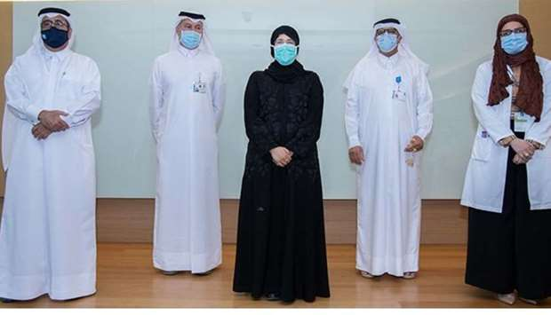 HE the Minister of Public Health Dr Hanan Mohamed al-Kuwari and other senior officials at the SWICC