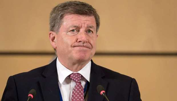 International Labor Organization (ILO) director general Guy Ryder delivers a speech at the opening o
