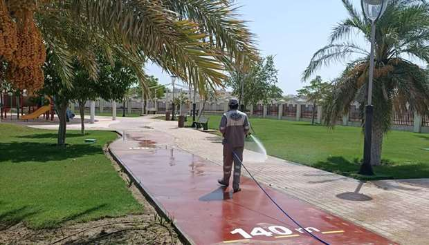 Cleaning, sanitisation and maintenance work being carried out at various parks and beaches in the co