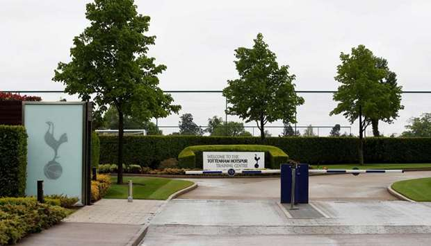 A general view of the entrance to the Tottenham Hotspur training ground in London. (Reuters)