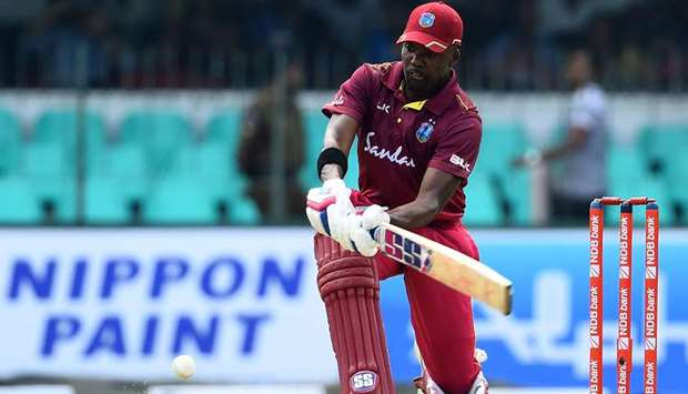 West Indies' Darren Bravo plays a shot during the first one day international (ODI) against Sri Lank