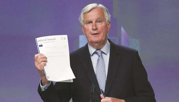 EU's Brexit negotiator Michel Barnier gives a news conference after Brexit negotiations in Brussels