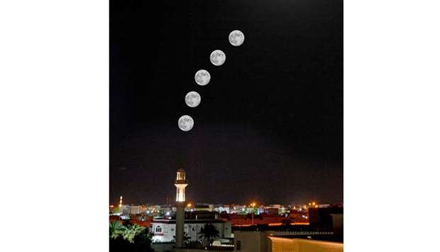 Moments of a penumbral lunar eclipse occurred in Qatar skies Friday night captured from Wakrah.