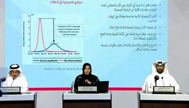 HE AlKhater and other officials addressing the press conference on Qatar TV