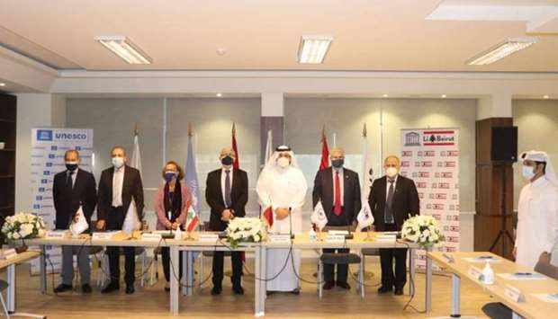 Ambassador of Qatar to Lebanon Mohamed Hassan al-Jaber with other dignitaries at Unesco meeting.