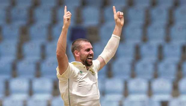 Anrich Nortje of South Africa celebrates after taking the wicket of Kraigg Brathwaite of West Indies