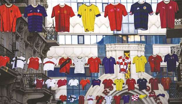 Jerseys of national teams hang in the streets of Baku, Azerbaijan, as part of promotions for the UEF