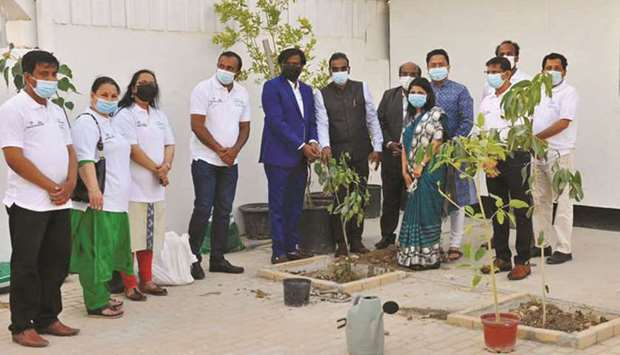 The tree was planted by Padma Karri, Second Secretary at Embassy of India, along with A P Manikantan