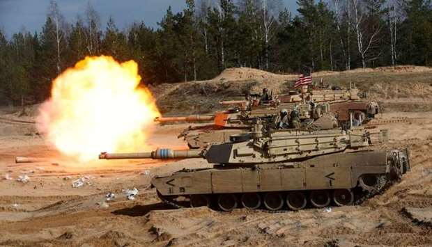 US Army M1A1 Abrams tank fires during NATO enhanced Forward Presence battle group military exercise