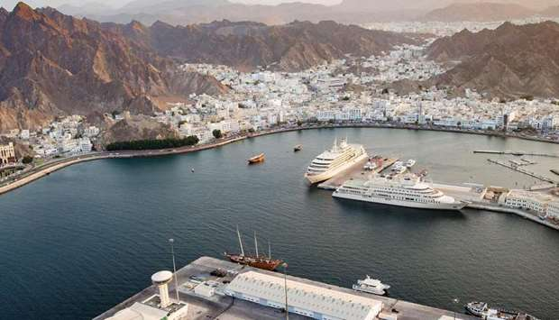 An aerial view shows the Port Sultan Qaboos in the Omani capital Muscat