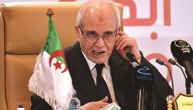 President of Algeria's National Independent Elections Authority Mohamed Chorfi holds a press confere
