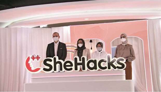 Dignitaries at the launch of Indosat Ooredoo's SheHacks 2021 Wednesday.