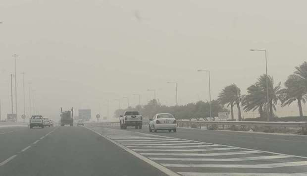 Dusty conditions led to a drop in visibility in some places yesterday. PICTURES: Shaji Kayamkulam