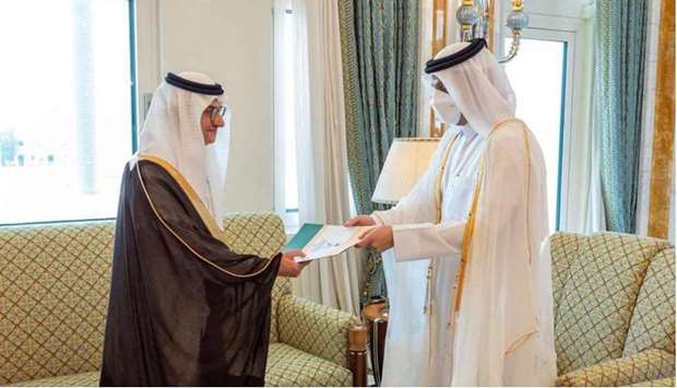 HE the Dy PM and Minister of Foreign Affairs Sheikh Mohammed bin Abdulrahman Al-Thani receives copy
