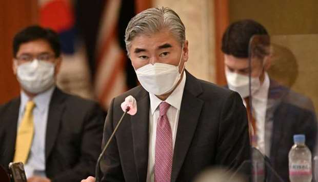 Sung Kim, US Special Representative for North Korea, speaks to Noh Kyu-duk (not pictured), South Kor