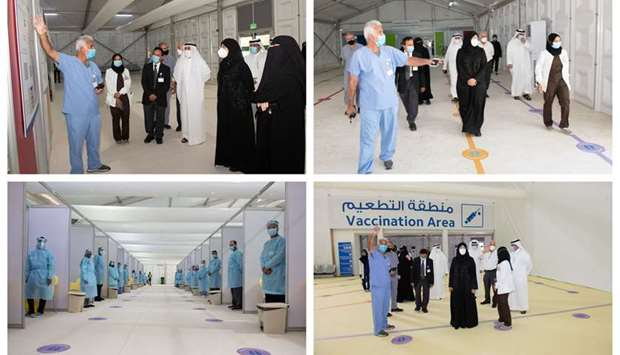 HE Dr Hanan Mohamed al-Kuwari with other officials during the visit to the new Qatar Vaccination Cen