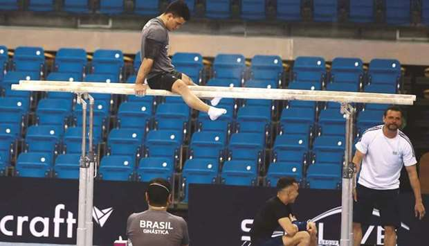 A Brazilian gymnast trains at the Aspire Dome yesterday. PICTURE: Jayan Orma