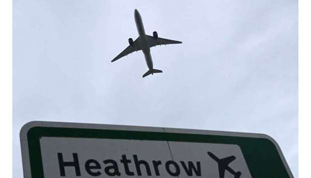 An aircraft takes off at Heathrow Airport amid the spread of the coronavirus disease (Covid-19) pand