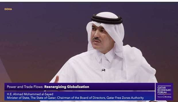 """HE Ahmad al-Sayed participating in a panel discussion at Qatar Economic Forum themed """"Reenergising g"""