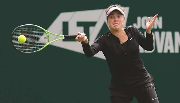 Ukraine's Elina Svitolina in action during her round of 32 match against Spain's Paula Badosa at the