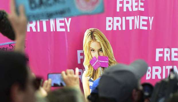Fans and supporters of Britney Spears gather outside the County Courthouse in Los Angeles, Californi