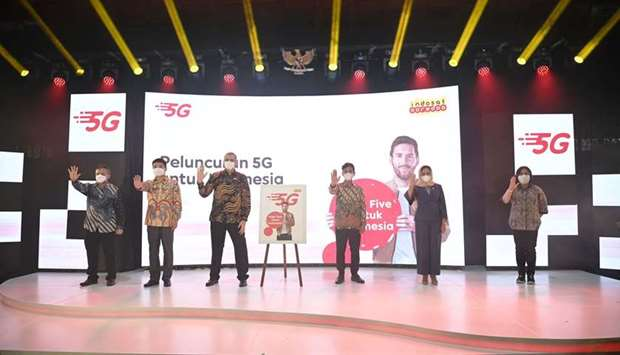 Indosat's Ooredoo 5G solo launch in the city of Solo, in Central Java.