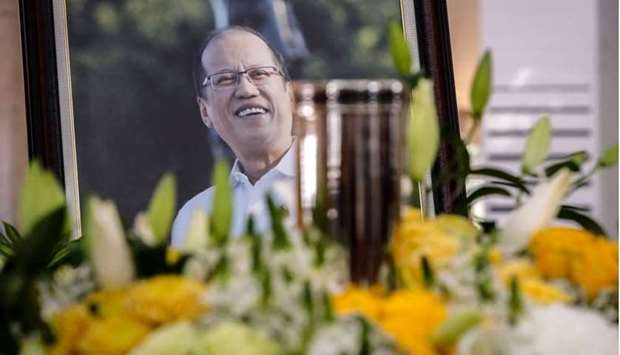 A view of the urn and portrait of former Philippine President Benigno Aquino during a public viewing