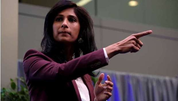 International Monetary Fund Chief Economist Gita Gopinath takes questions at the annual meetings of