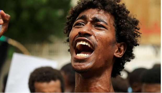 A Sudanese protester shouts slogans in the capital Khartoum.