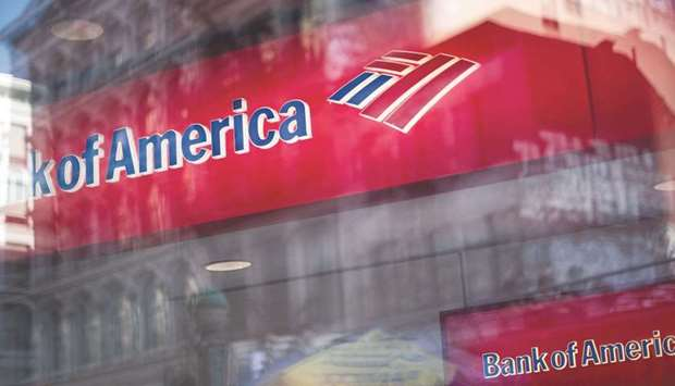 Bank of America Corp signage is seen with street reflections on a window in New York. Bank of Americ