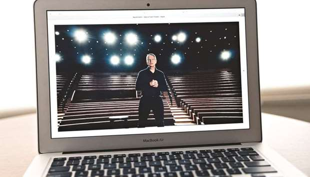 Tim Cook, chief executive officer of Apple, speaks during the Apple Worldwide Developers Conference