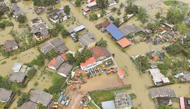 An aerial view of a flooded area in the suburbs of Colombo, Sri Lanka.