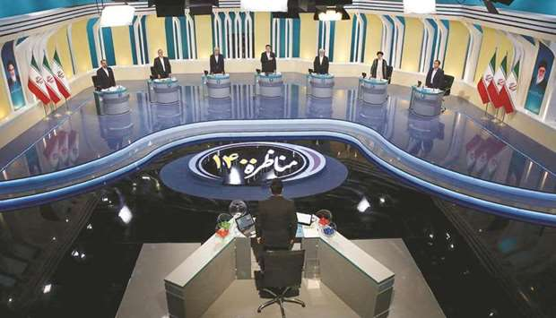 General view of the election debate at a television studio, in Tehran, yesterday.