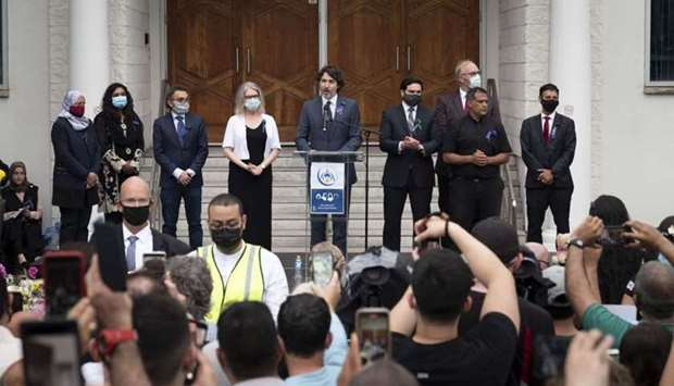 Canadian Prime Minister Justin Trudeau addresses members of the Muslim community and supporters duri