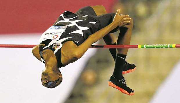 In this May 28, 2021, picture, Qatar's Mutaz Barshim competes during the men's high jump event at th
