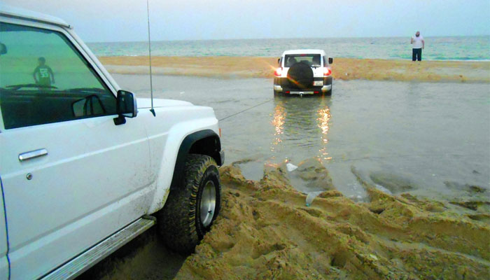 Several vehicles get stuck in the seawater during high tide as well as in the sand on beaches and du