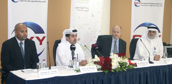 Rota and Oxy Qatar officials announcing the Ramadan 2013 Project yesterday.