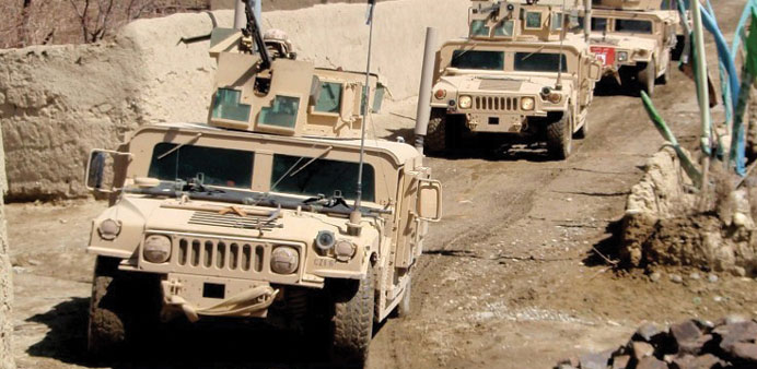 A convoy of Humvees.