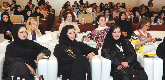 Aisha Alfardan, vice chairperson of QBWA, with other prominent members of the association on the sec