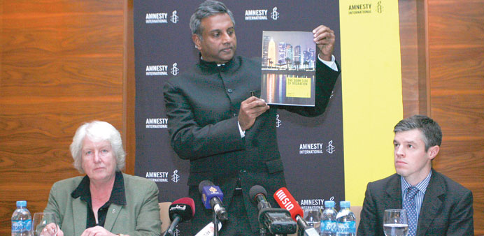Amnesty International secretary-general Salil Shetty launching the report in Doha yesterday. PICTURE