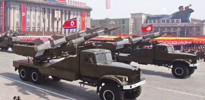 File photo shows SA-3 ground-to-air missiles being displayed during a military parade in honour of t