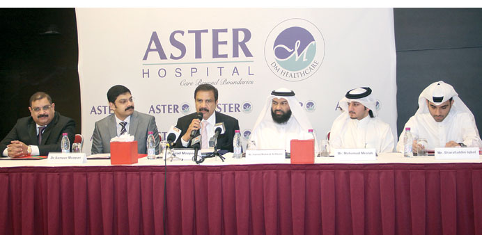 DM Healthcare Group and Al Estiana Real Estate Development company officials announcing the Doha hos