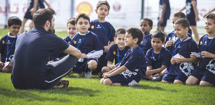 Kids attending a training session.