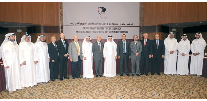 Representatives of the companies which were awarded Expressway contracts with Ashghal president Nass