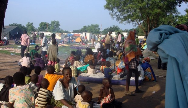 Displaced South Sudanese families in a camp for internally displaced people in South Sudan
