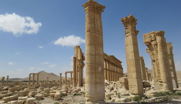 Part of the remains of Arch of Triumph, also called the Monumental Arch of Palmyra